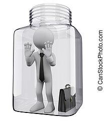 3d, branca, pessoas., homem negócios, em, um, frasco vidro