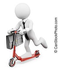 3d, branca, pessoas., homem negócios, ligado, um, scooter