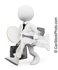 3d, branca, pessoas., homem negócios, procurar, trabalho, conceito