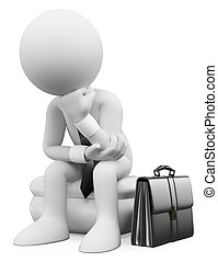 3d, branca, pessoas., homem negócios, sentando, pensando