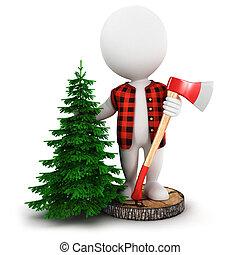 3d, branca, pessoas, lumberjack