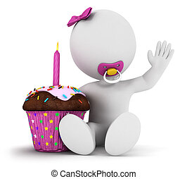 3d, branca, pessoas, menina bebê, aniversário