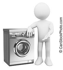 3d, branca, pessoas., modernos, lavadora roupa