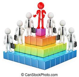 3d, branca, pessoas., negócio, hierarquia