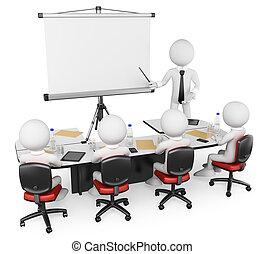3d, branca, pessoas., negócio, oficina