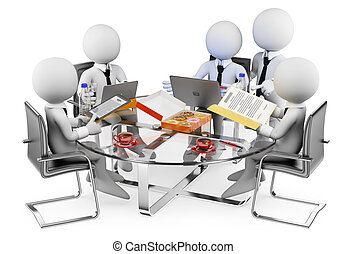 3d, branca, pessoas., negócio, reunião informal