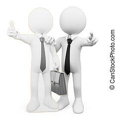 3d, branca, pessoas., pessoal, negócio, coacher