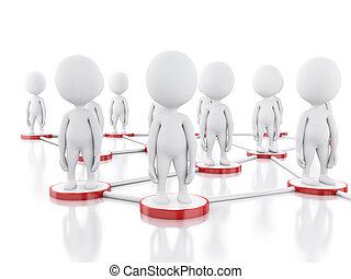3d, branca, pessoas, social, rede