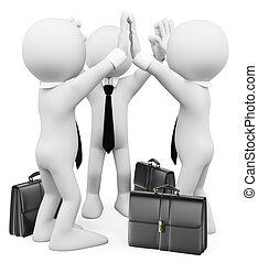 3d, branca, pessoas., sucesso, negócio, trabalho equipe