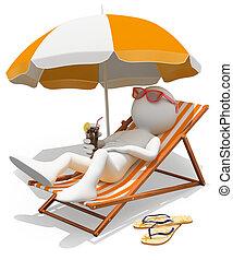 3d, branca, pessoas., sunbathing, ligado, um, lounger