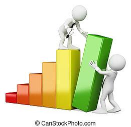 3d, branca, pessoas., trabalho equipe, aumentar, vendas