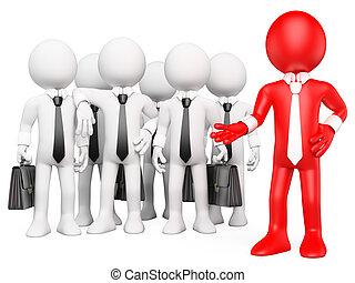 3d, branca, trabalho, pessoas., equipe