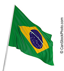 3D Brazilian flag with fabric surface texture. White background.