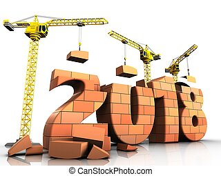 3d bricks 2018 text - 3d illustration of cranes building...