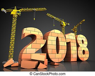 3d bricks 2018 year sign