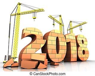 3d bricks 2018 year sign - 3d illustration of cranes...
