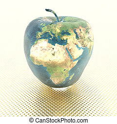 apple with earth texture