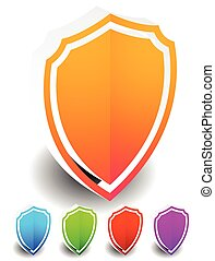 3D Bright, colorful shield shapes in 5 colors isolated on white with shadow.