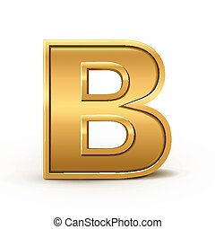 3d bright golden letter B