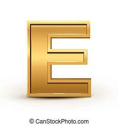 3d bright golden letter E