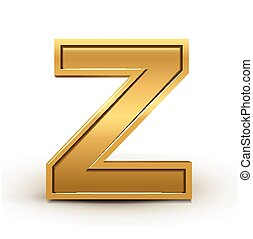 3d bright golden letter Z