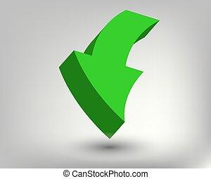 3D bright green arrow