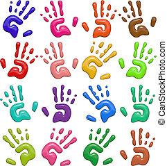 3d, brillante, impresiones de la mano