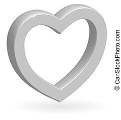 3d, brillante, plata, vector, corazón