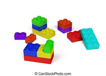 3d, brinquedo plástico, blocos