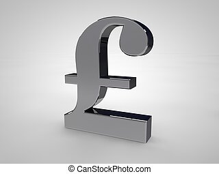 3D British-Pound symbol isolated on white in silver