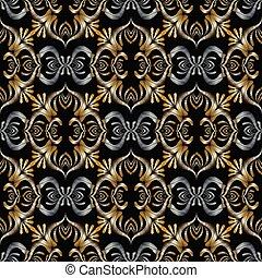 3d, broderie, baroque, seamless, pattern., vecteur, noir, or, argent