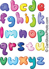 3d bubble shaped lower case alphabet set