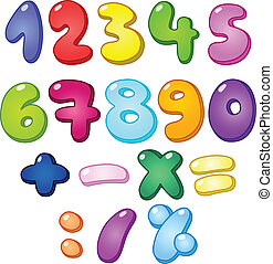 3d bubble shaped numbers and math signs set