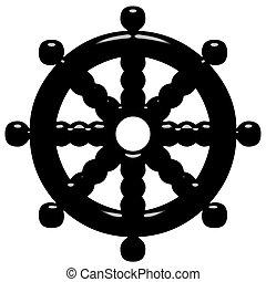 3D Buddhism Symbol Wheel of Dharma - 3d Buddhism symbol...