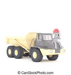 3d builder, miner or workman on a large truck - 3d builder,...