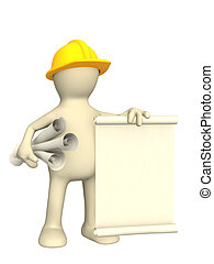 3d builder with rolls of documents