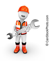 3d builder with wrench in hands.