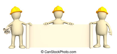 3d builders with rolls of documents - Puppets - builders...