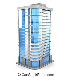 3d illustration of city building over white background