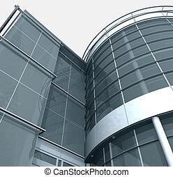 Building Glass Corner Entrance - 3d Building Glass Corner...