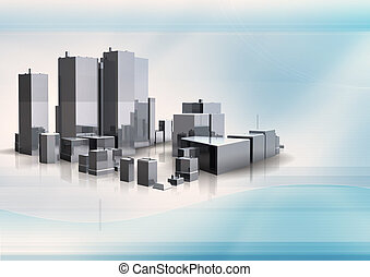 3d building on abstract background
