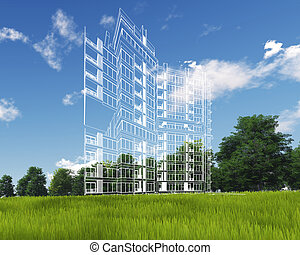 3d Building on green grass and blue sky. Extremely high detailed quality render. Copyspace. Green landscapes collection