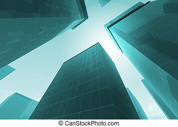 3D buildings - Abstract angle of blue glass skyscrapers with...