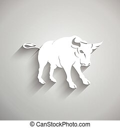 3d, bull., ペーパー, スタイル, 白