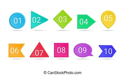 3d bullet point vector illustration set - isolated bright colorful pointers with numbers from 1 to 10.