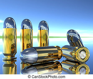 3D bullets - bright 3D golden and silver bullets on blue