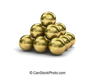 golden spheres - 3d bumby golden spheres on white background...
