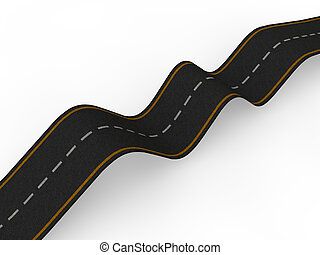 3d bumpy road with ups and downs - 3d render of bumpy road...