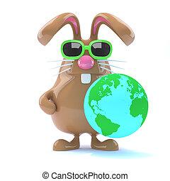 3d Bunny globe