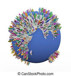 3d, bunte, verschieden, leute, ungefähr, erde, welt globus